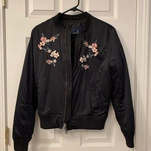 Black jacket with embroidered cherry blossoms